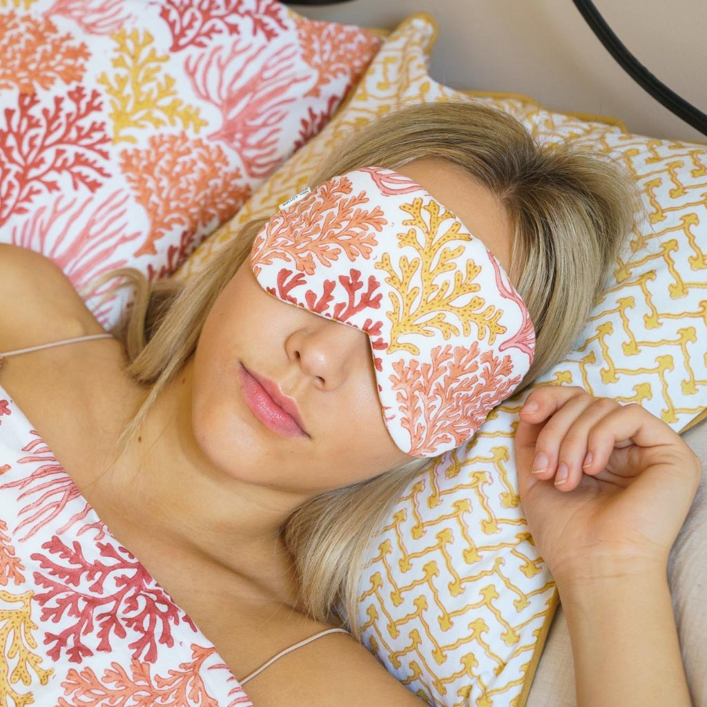 Indian Block Printed Cotton Eye Mask 'Coral Reef'