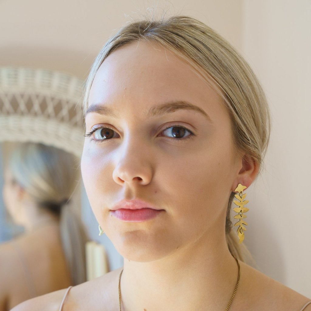Artisans & Adventurers Laurel Drop Earrings made with recycled, gold-toned brass. Ethical and fair trade jewellery