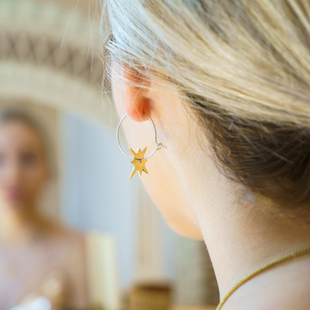 Artisans & Adventurers Star Hoop Earrings and galaxy inspired ethical jewellery collection london