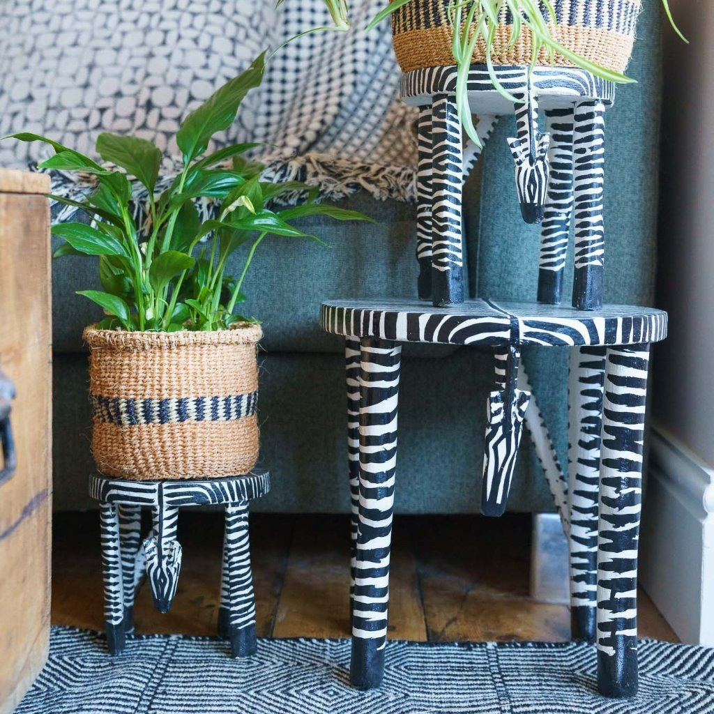 Wooden Zebra Hand Carved & Painted Stool/Pot Stand 'Large'