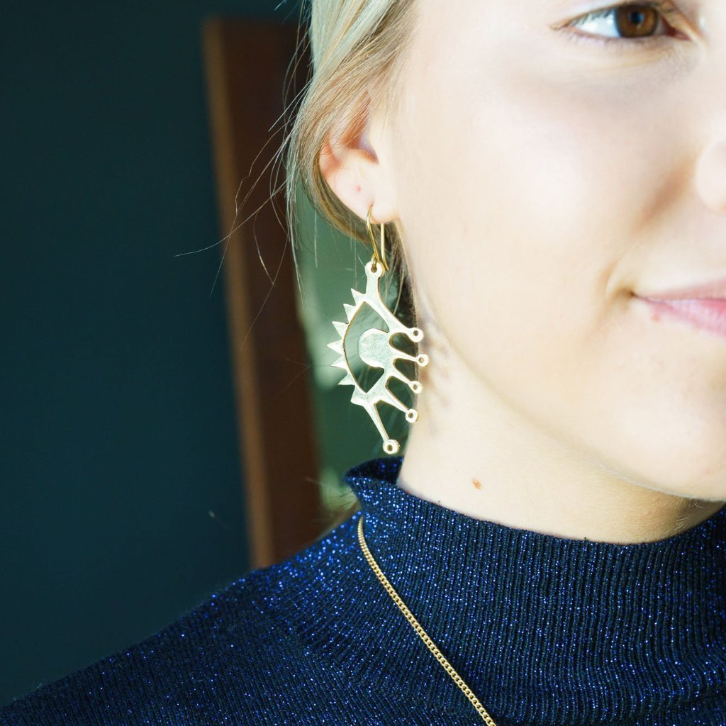 Artisans & Adventurers 'Eye' Statement, gold-toned recycled brass earrings