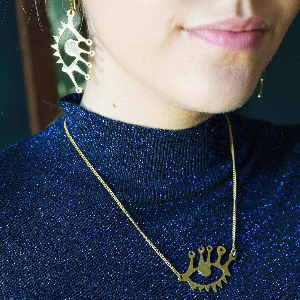Artisans & Adventurers 'Eye' Statement Necklace made with sustainable, recycled brass in Kenya