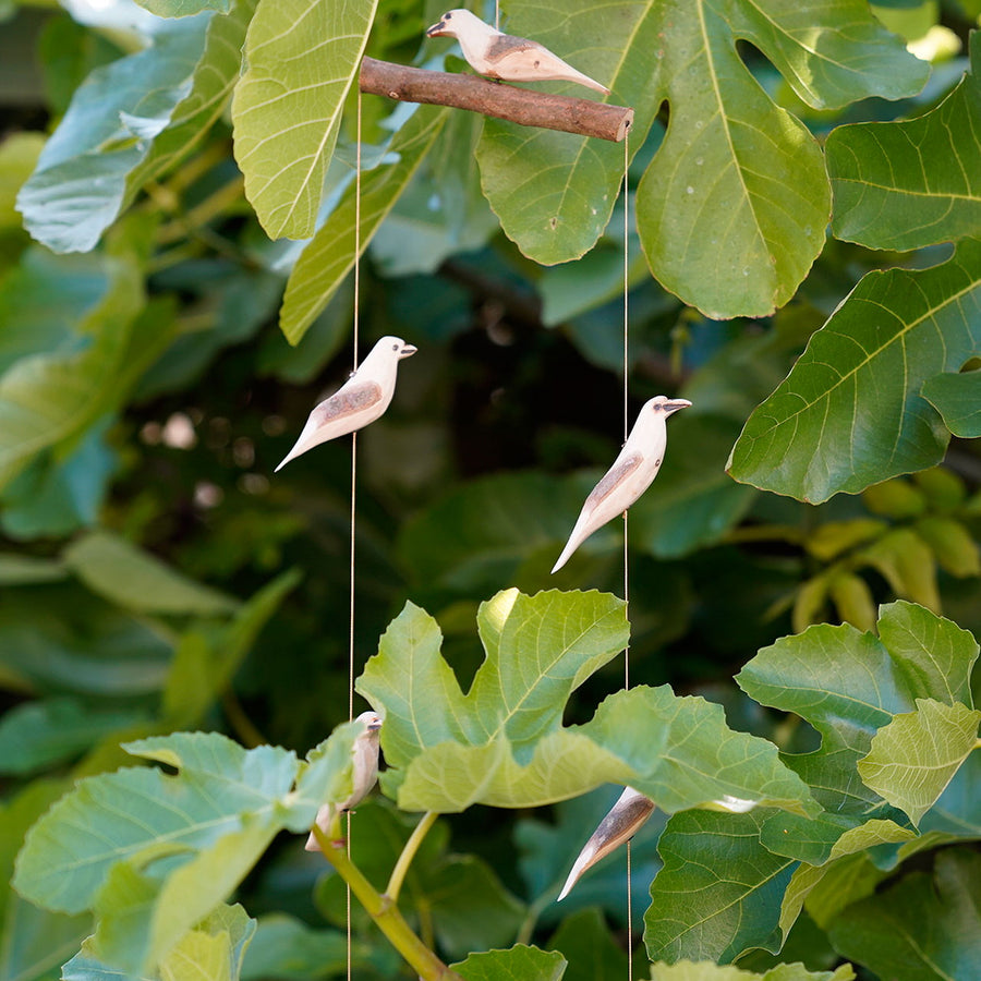 Wood Hanging Birds Mobile 'Natural'