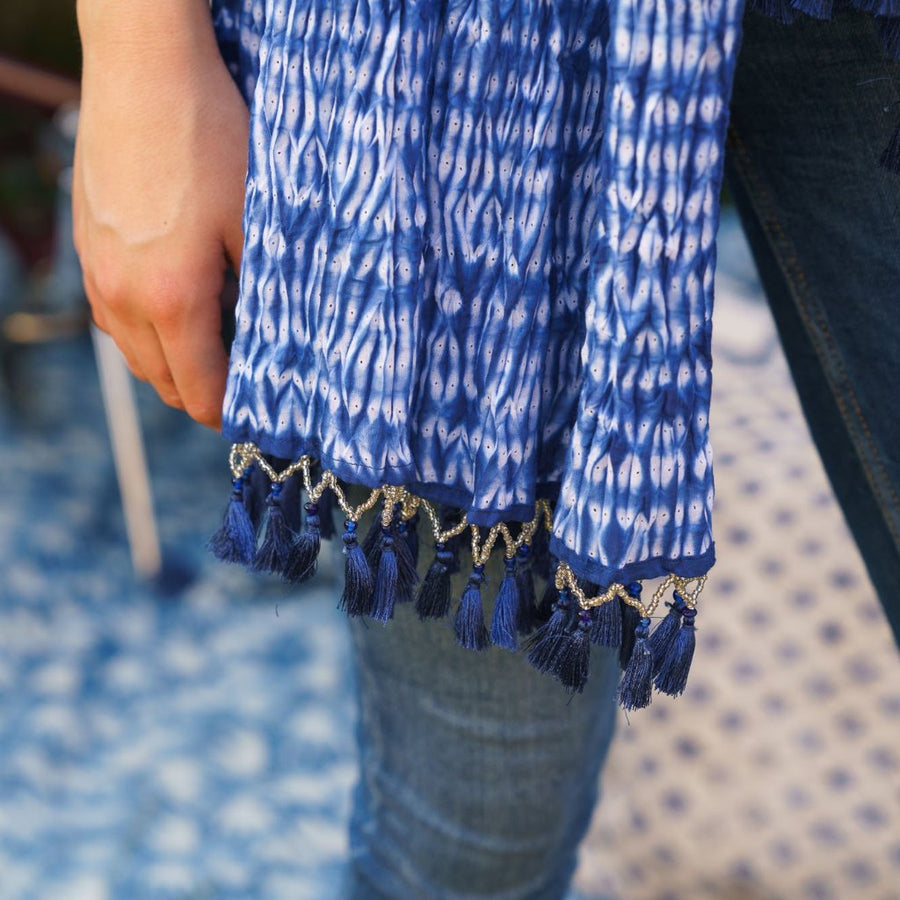 Indian Indigo Tie Dye Cotton Tassel Scarf/Cloth 'Abstract Blocks, Blue Tassels'