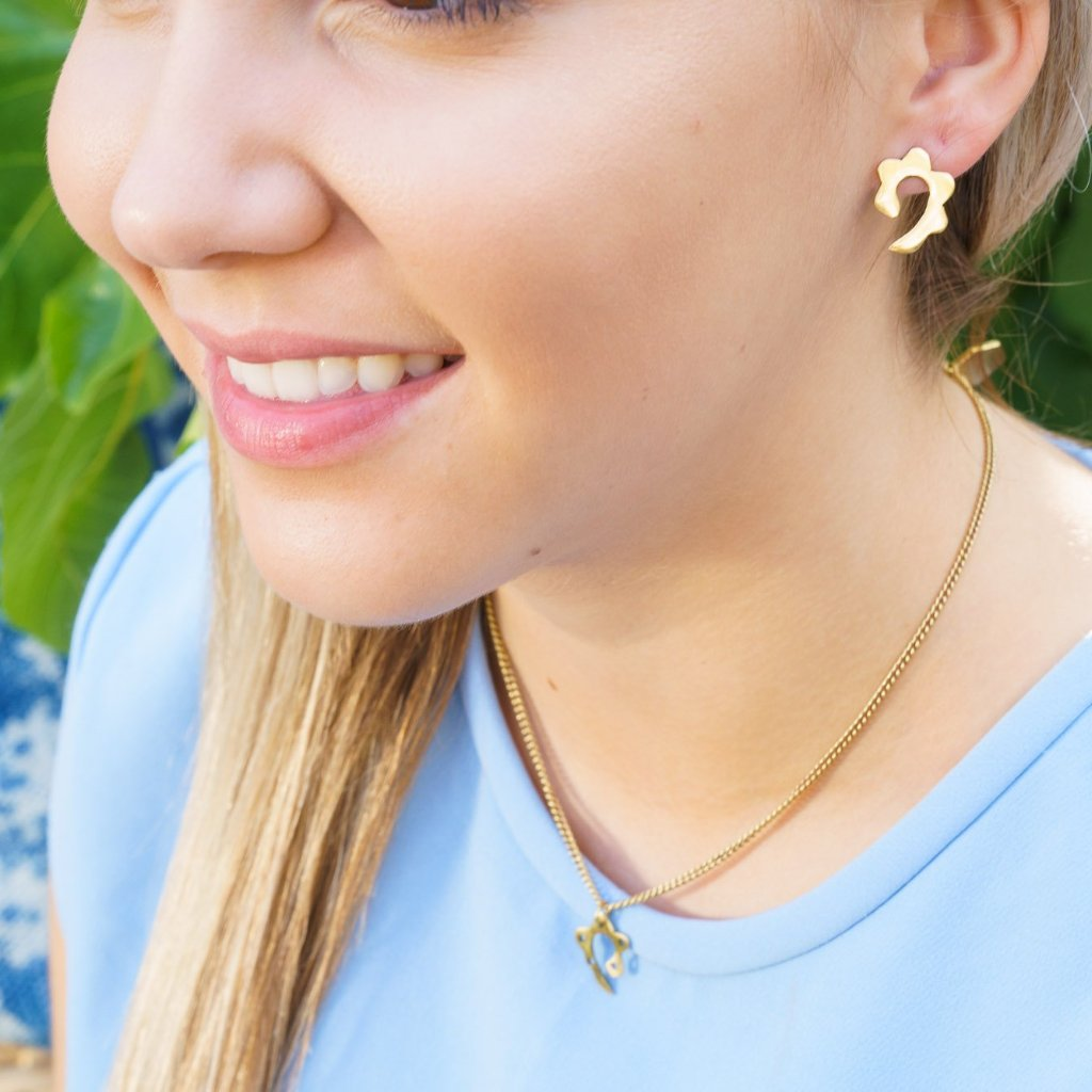Artisans & Adventurers recycled brass Paisley earrings. Ethical, sustainable and fair trade jewellery.