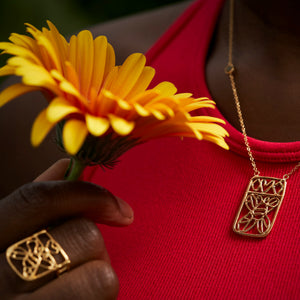 Honey Bee Brass Lace Necklace