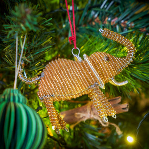 Zimbabwean Beaded Tree Decoration 'Bronze Elephant'