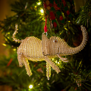 Zimbabwean Beaded Tree Decoration 'Silver Elephant'