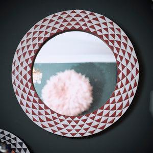 Ghanaian Sun Small Round Mirror 'Terracotta & White'