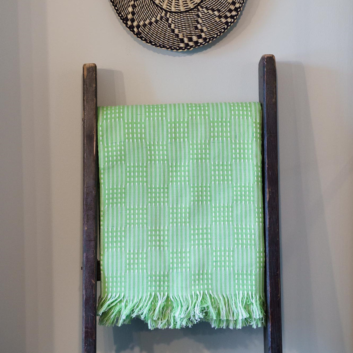 Tanzanian Table Cloth 'Lime Green Grid'