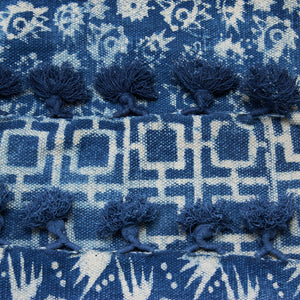 Indian Indigo Block Printed Rugs 'Eyes'
