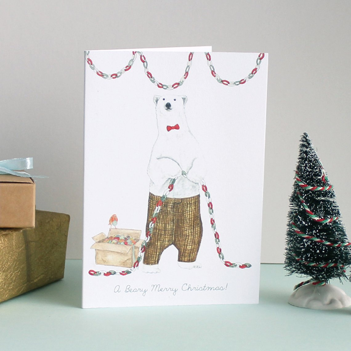 Mister Peebles Christmas Greeting Card 'A Beary Merry Christmas'