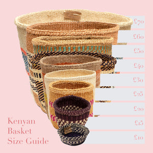 Kenyan Sisal Basket 'Small Blue & Natural Stripes'
