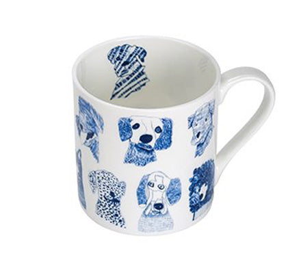 ARTHOUSE Unlimited Fine Bone China Mug 'Blue Dogs'