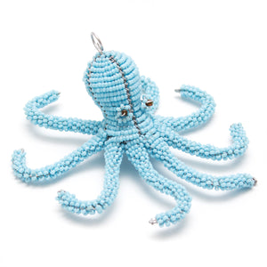 Zimbabwean Beaded Octopus Decoration 'Ocean Blue'