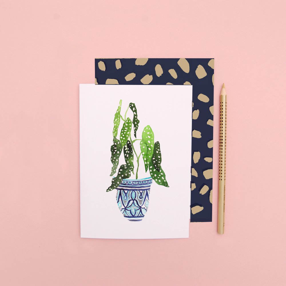 LIZ TEMPERLEY Begonia In Blue Pot Notecard