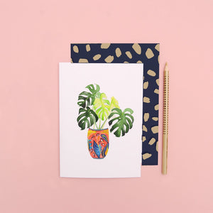 LIZ TEMPERLEY Monstera In Red Pot Notecard