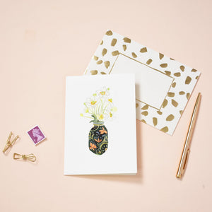 LIZ TEMPERLEY Anenomies in Pretty Green Vase Notecard