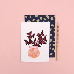 LIZ TEMPERLEY Oxalis In Peach Pot Notecard