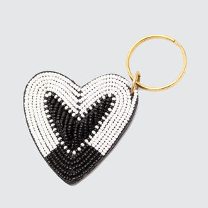 Kenyan Beaded Leather Heart Keyring 'Black & White'