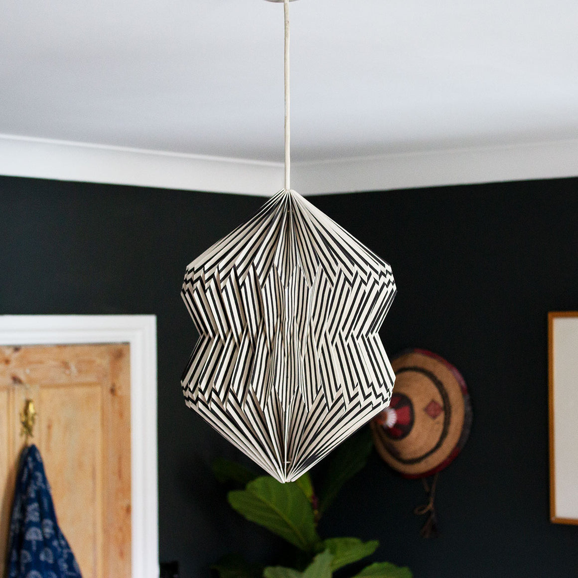 Indian Recycled Paper Diablo Light Shade 'Black and White Stripes'