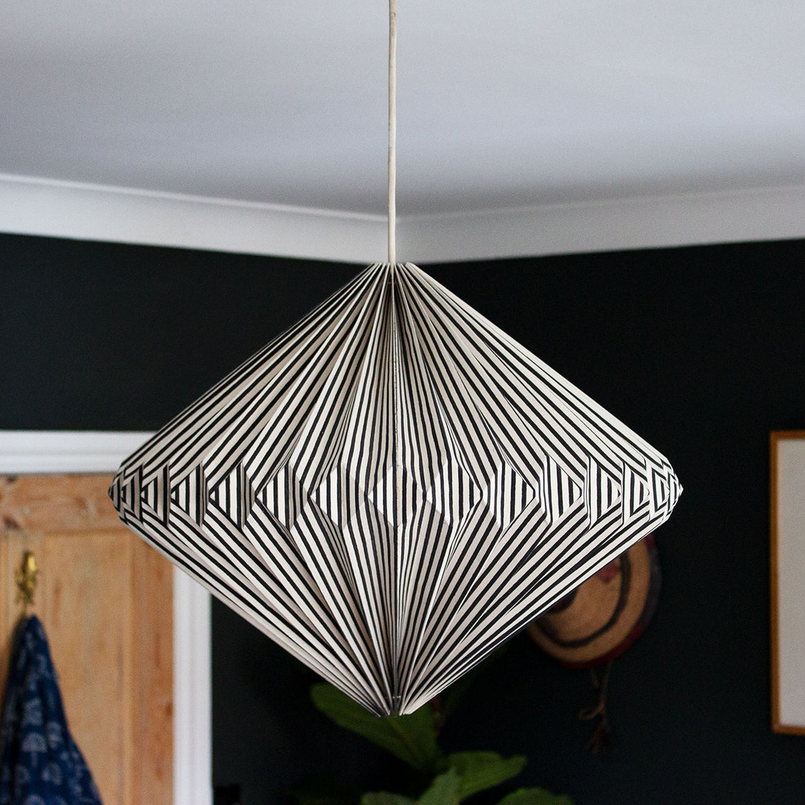 Indian Recycled Paper Diamond Light Shade 'Black and White Stripes'