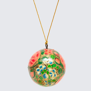 Indian Hand Painted Kashmir Bauble Decoration 'Black Floral'