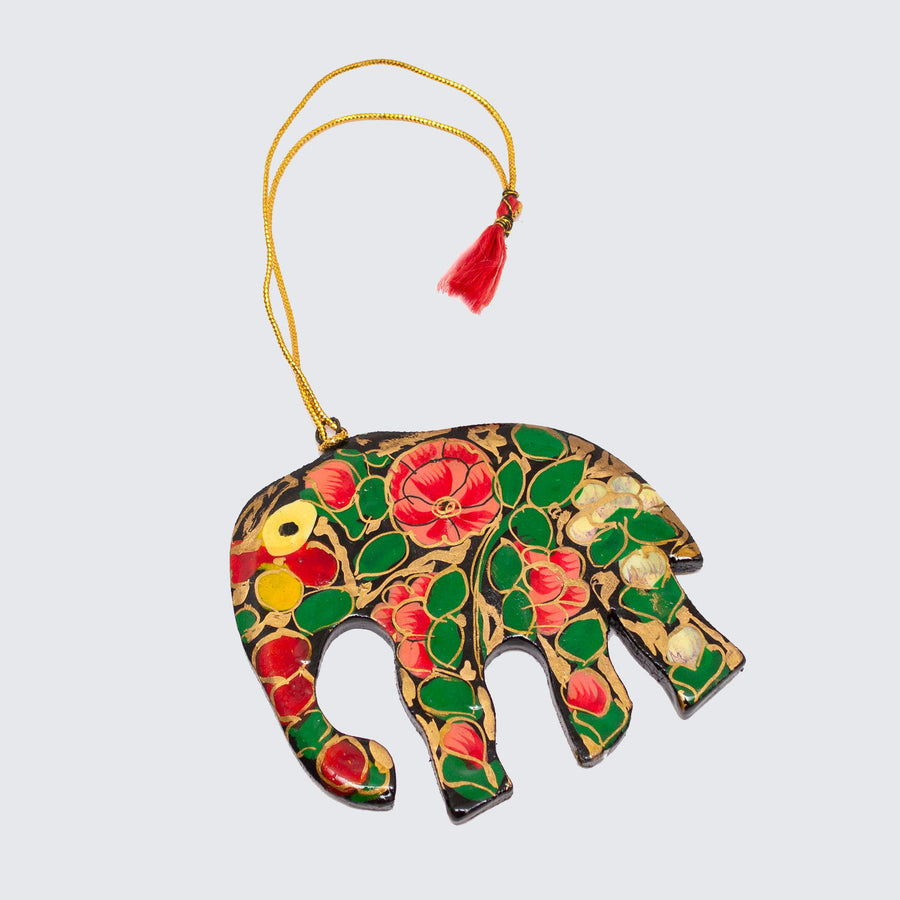 Indian Hand Painted Kashmir Elephant Decoration 'Black Floral'
