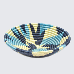 Rwandan Bowl Basket 'Blue Camo Leaf'