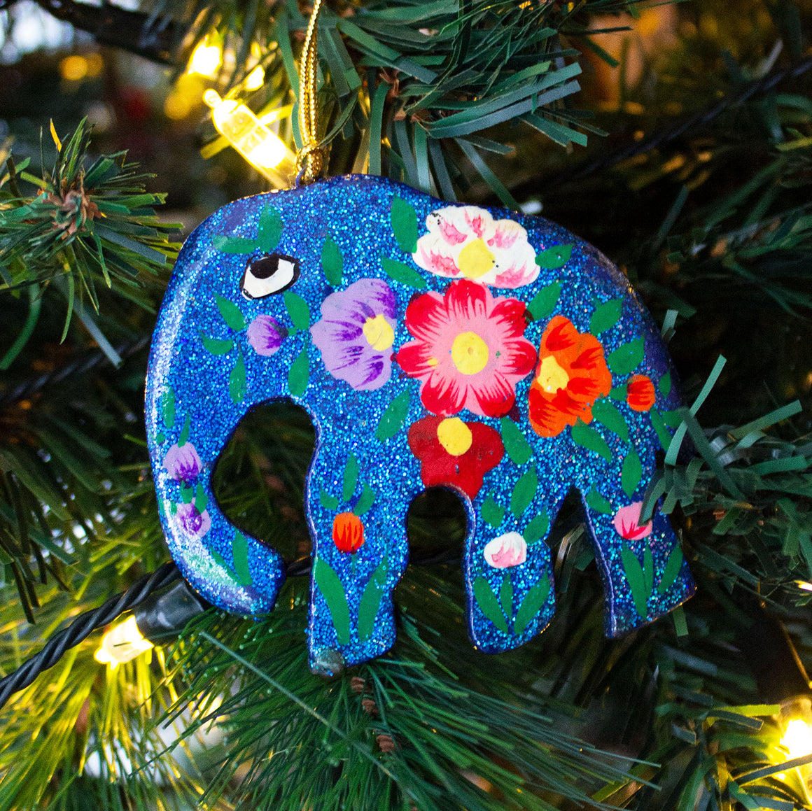 Indian Hand Painted Kashmir Elephant Decoration 'Blue Glitter'