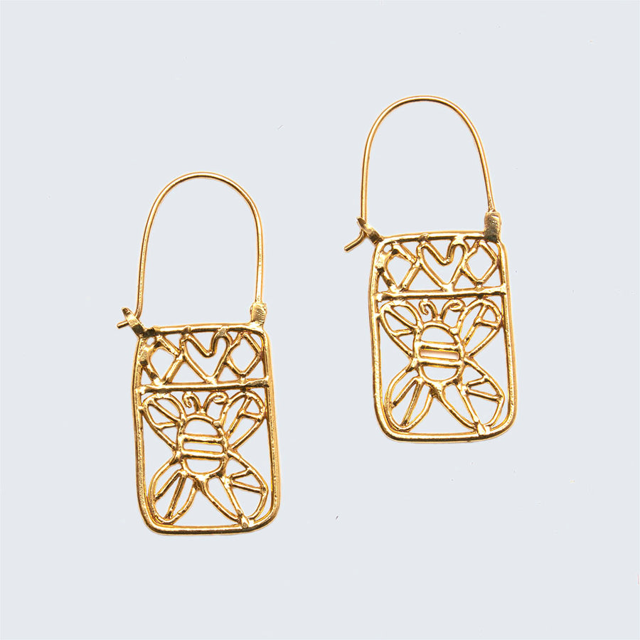 Honey Bee Brass Lace Hook Earrings