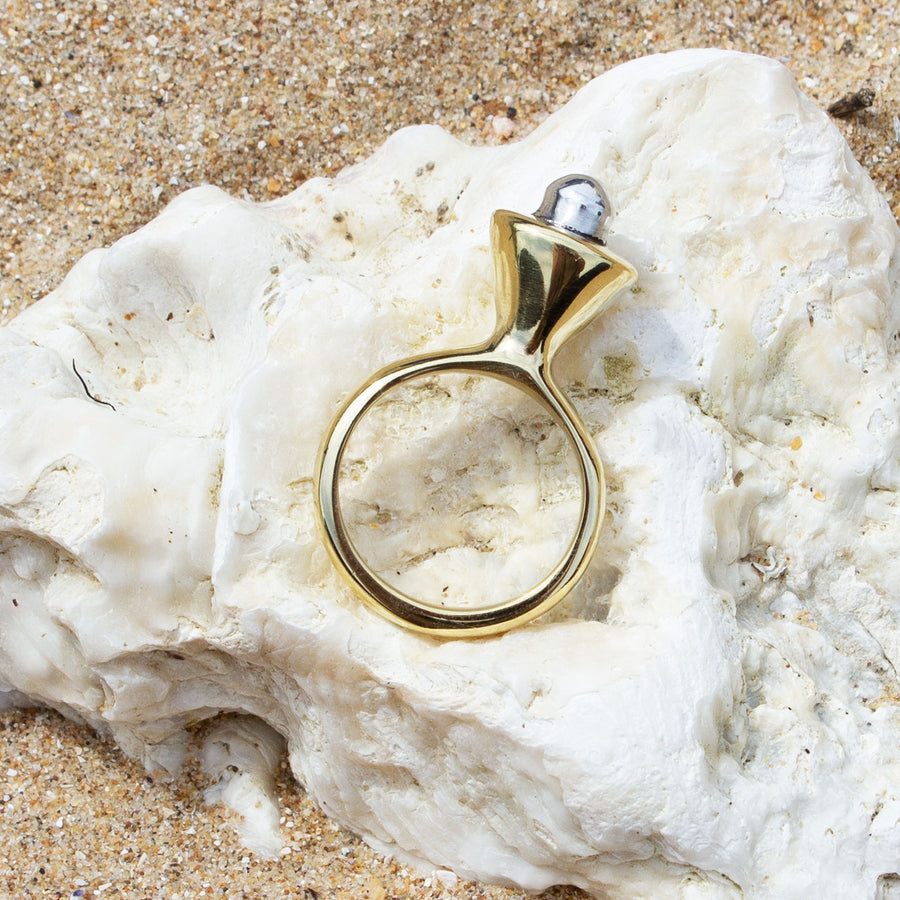 Signature Pearl Closed Brass & Aluminium Ring