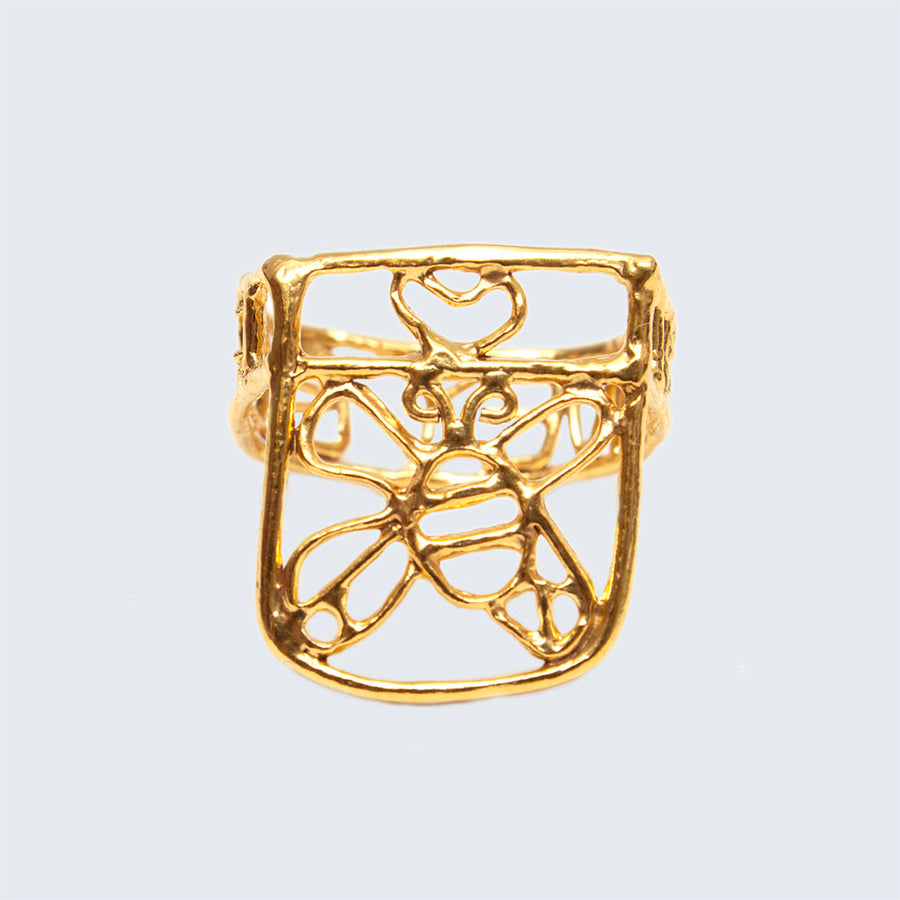 Honey Bee Brass Lace Ring