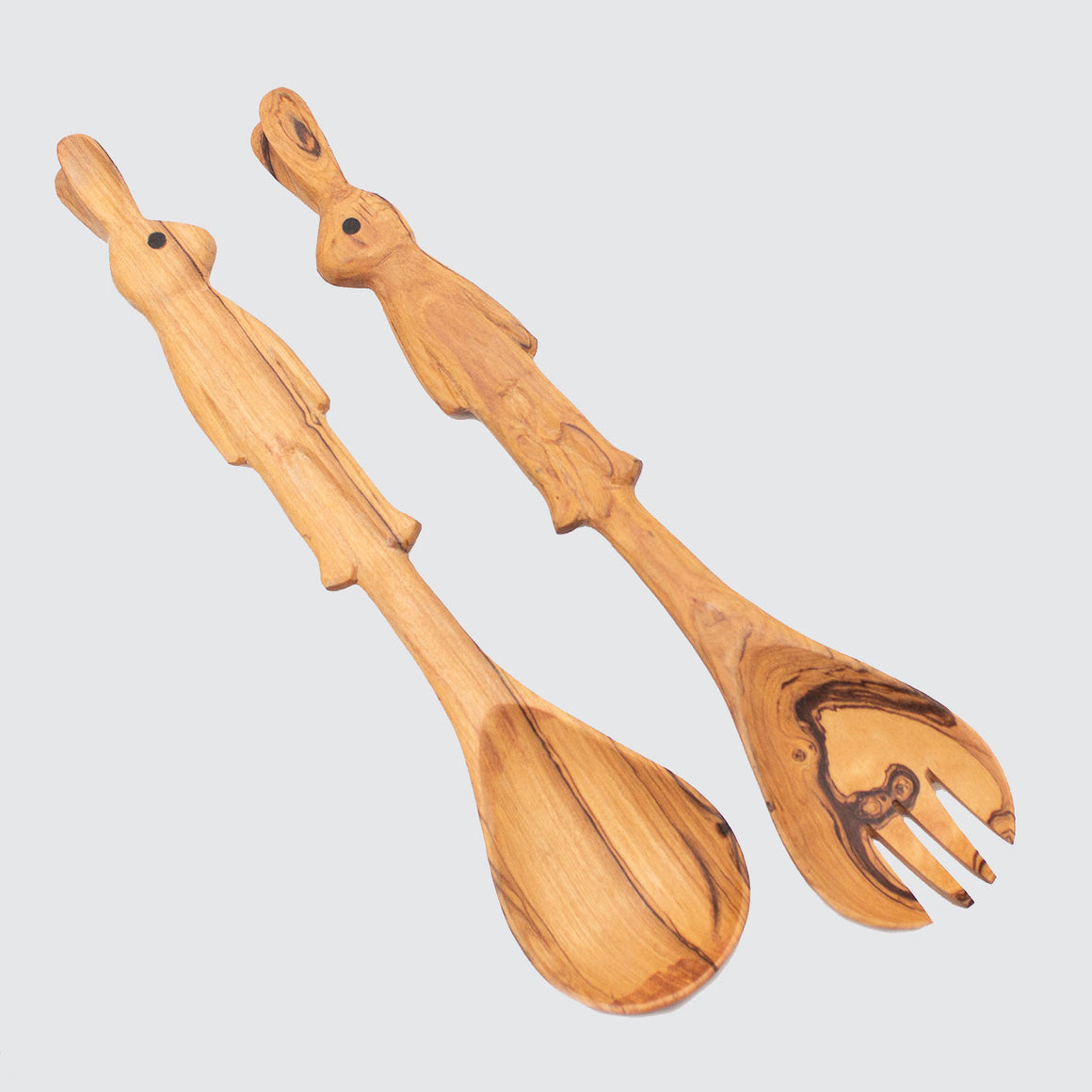 Olive Wood Bunny Rabbit Salad Servers