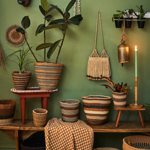 Kenyan Traditional Sisal Basket 'Caroline White Stripes'