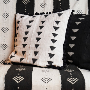 West African Bògòlanfini Mud Cloth 'Black and White Patchwork Strips'