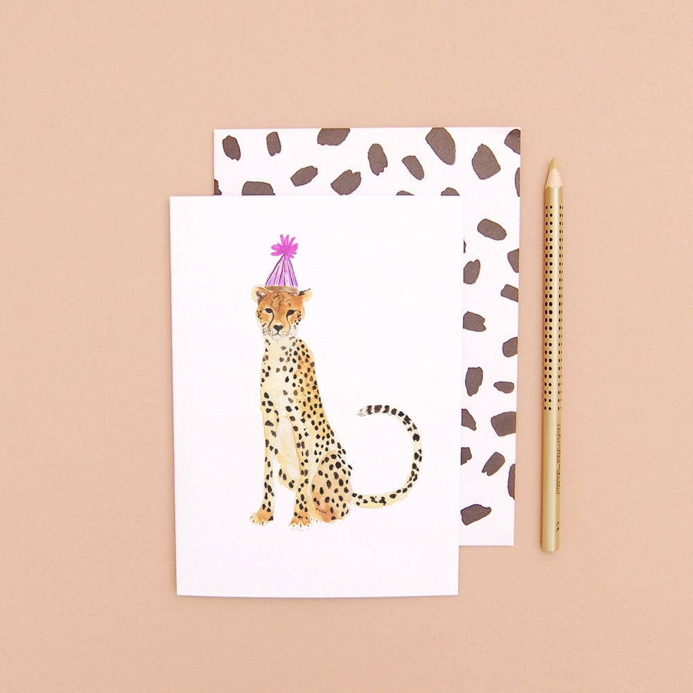 LIZ TEMPERLEY Cheetah In A Party Hat Greeting Card