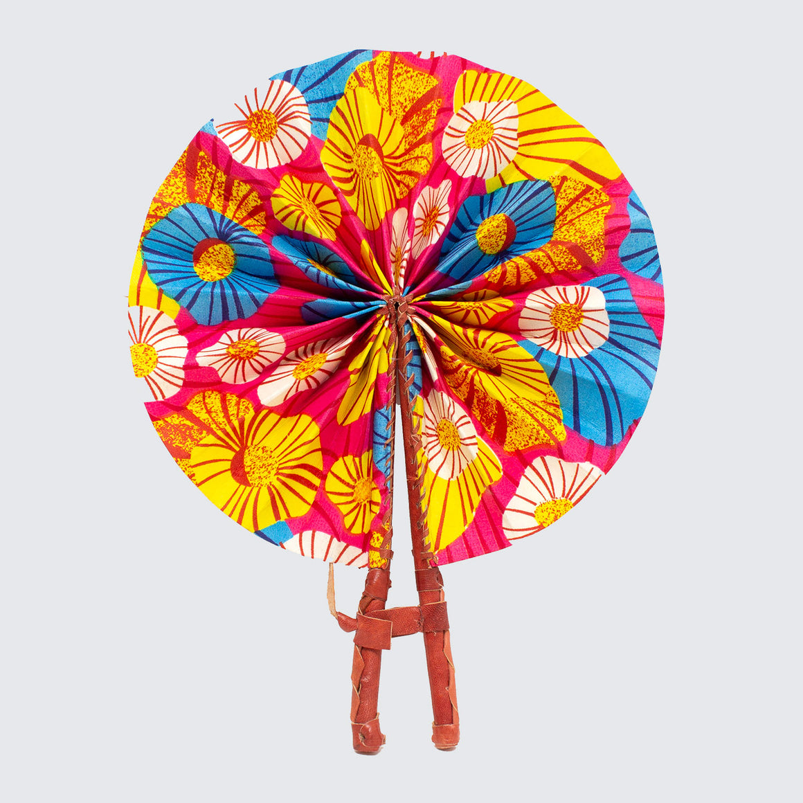 Ghanaian Wax Cotton & Leather Fan 'Candy Baobab'