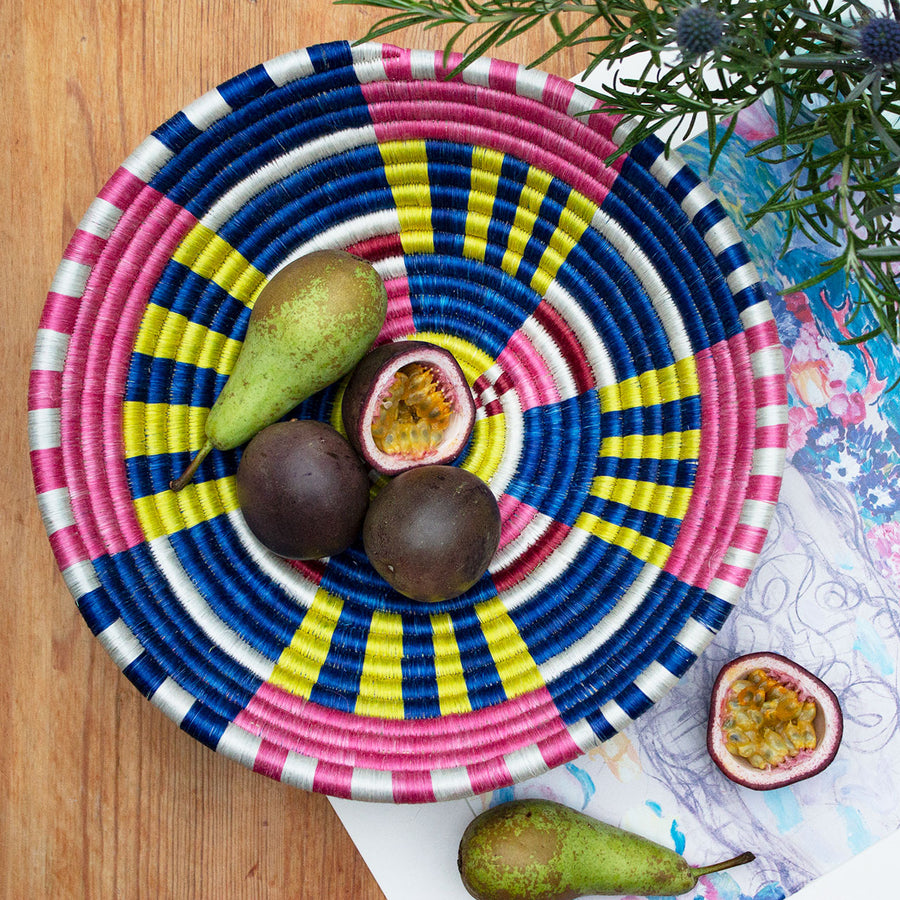 Rwandan Bowl Basket 'Colourful Cosmos'