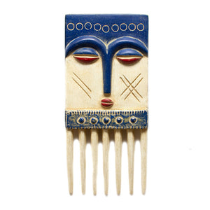 Ghanaian Hand Carved Wooden Comb Mask 'Blue, White & Red'