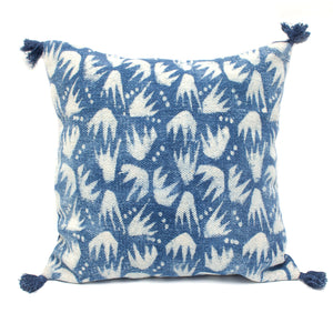 Indian Indigo Block Printed 45cm x 45cm Cushion Cover 'Combs'