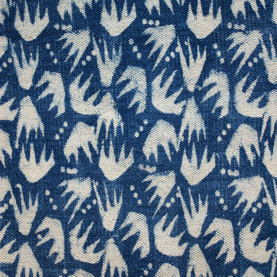 Indian Indigo Block Printed Rugs 'Combs'