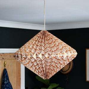Indian Recycled Paper Diamond Light Shade 'Bronze Palms'