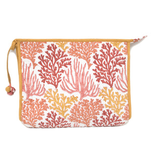 Indian Block Printed Large Pouch 'Coral Reef'