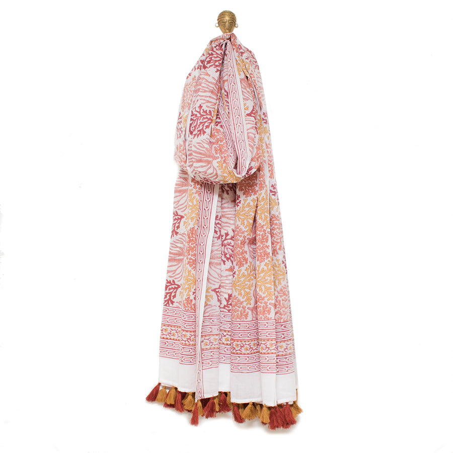 Indian Block Printed Cotton Scarf/Cloth 'Coral Reef'