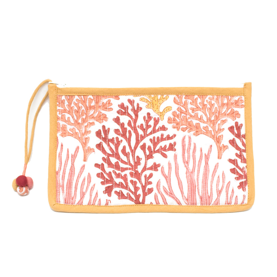 Indian Block Printed Medium Pouch 'Coral Reef'