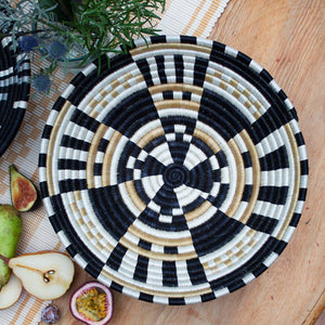 monochromatic natural black and white striped checkered wall decoration handwoven basket