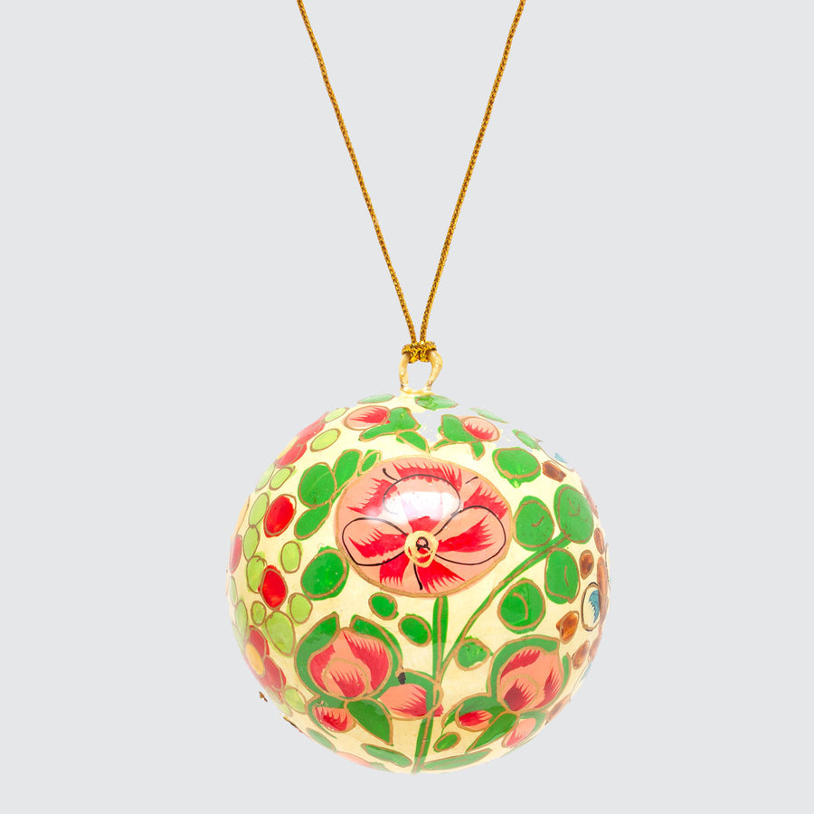 Indian Hand Painted Kashmir Bauble Decoration 'Cream Floral'