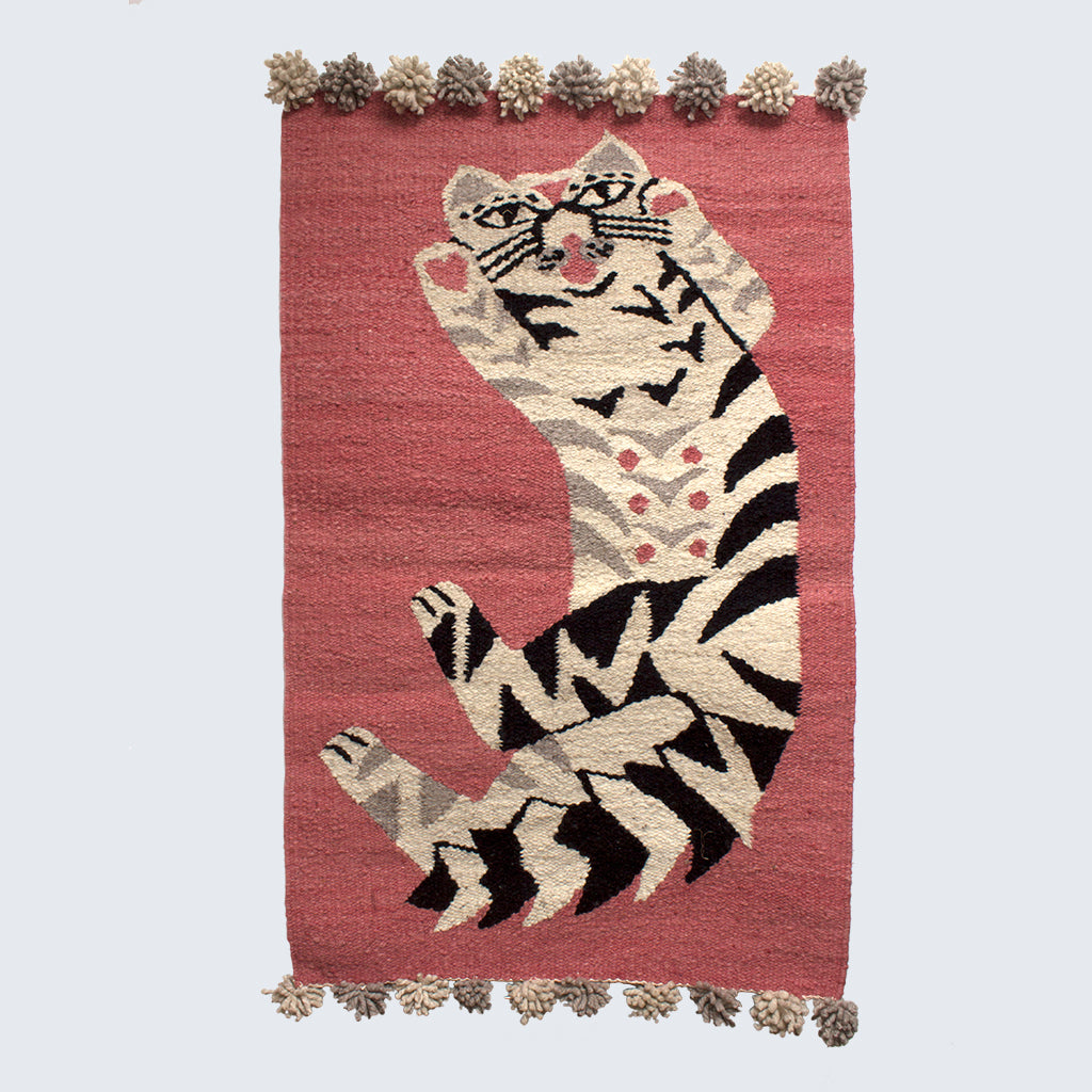 Woven Kenyan Wall Hanging/Rug 'Cat on Pink'