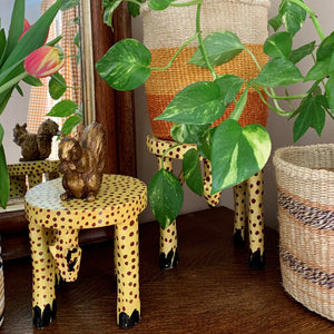 Wooden Hand Carved Cheetah Stool/Pot Stand 'Large'